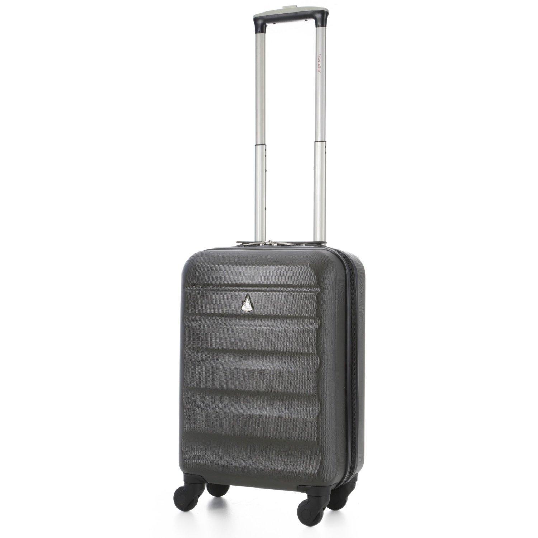Aerolite Leichtgewicht ABS Hartschale 4 Rollen Handgepäck Trolley Koffer Bordgepäck Kabinentrolley Reisekoffer Gepäck , Genehmigt für Ryanair , easyJet , Lufthansa , Jet2 und Vieles Mehr , Kohlegrau