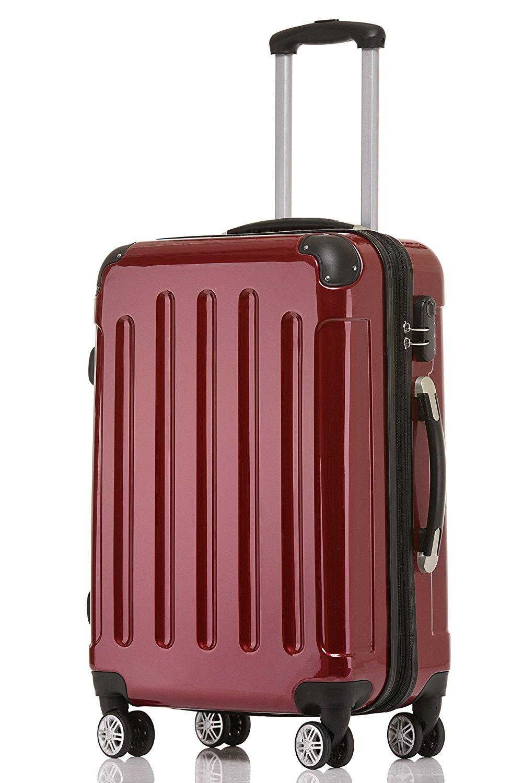 BEIBYE Zwillingsrollen 2048 Hartschale Trolley Koffer Reisekoffer in M-L-XL-Set in 17 Farben (Rot, L)