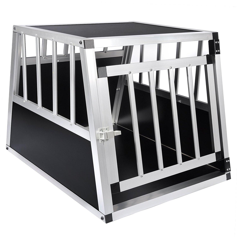 WOLTU® #859 Alu Hundetransportbox Hundekäfig Autohundebox 1 Türig Reisebox Hundebox 69*54*51 cm Schwarz