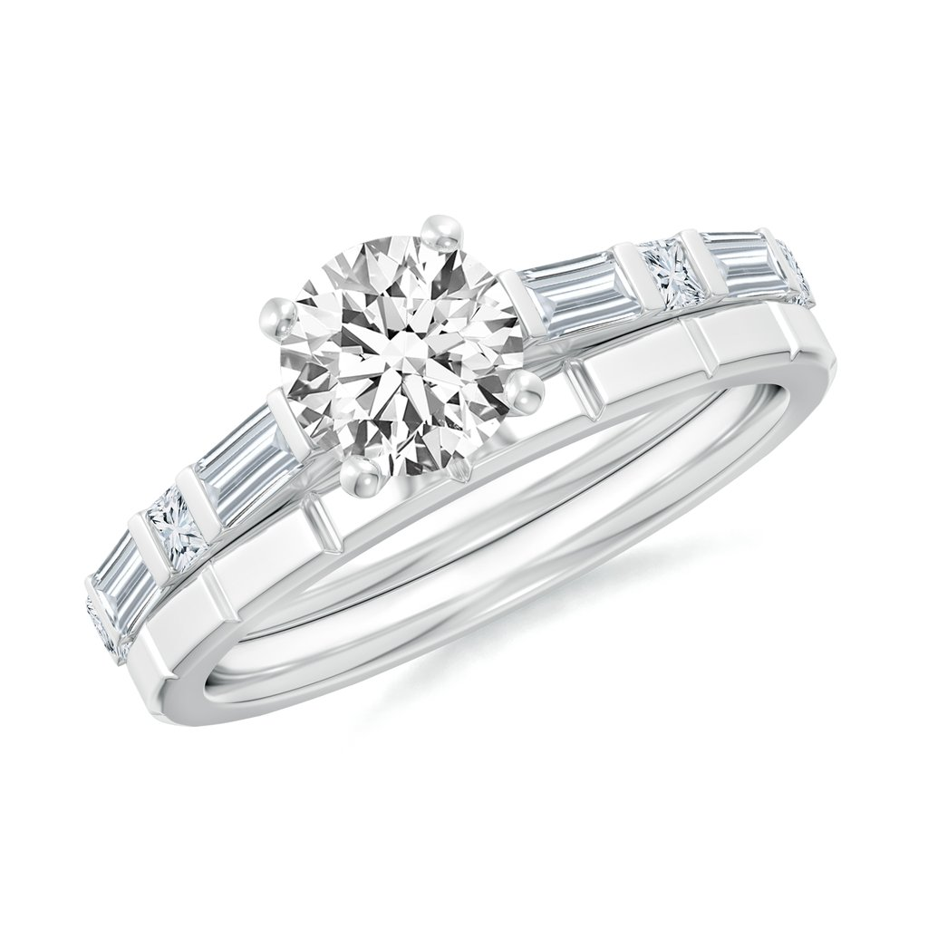 1.360 CT TW Round Moissanite 14k White Gold Bridal Set with Baguette & Square Accents