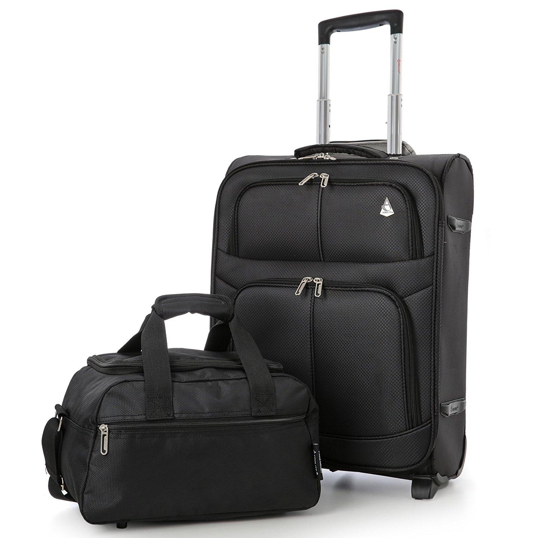 Aerolite 55x40x20 Ryanair Höchstbetrag 2 Rollen 42L Leichtgewicht Handgepäck Trolley Koffer Bordgepäck Kabinentrolley Reisekoffer Gepäck + 35x20x20 Zweites Handreisegepäck (Gepäck-Set), Schwarz