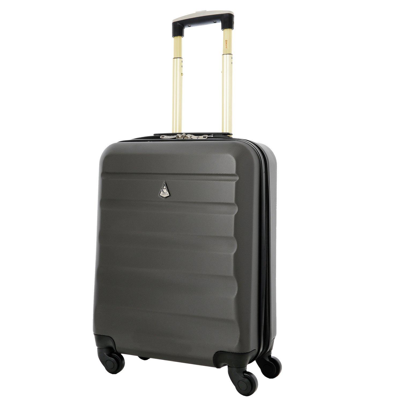Aerolite 55x40x20 Ryanair Höchstbetrag 4 Rollen 40L Leichtgewicht ABS Hartschale Handgepäck Trolley Koffer Bordgepäck Kabinentrolley Reisekoffer Gepäck, Auch Genehmigt für easyJet Lufthansa, Kohlegrau