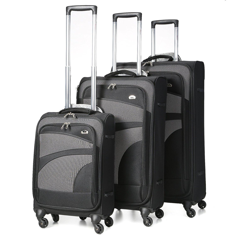 Aerolite Leichtgewicht 4 Rollen Trolley Koffer Kofferset Gepäck-Set Reisekoffer Rollkoffer Gepäck, 3 teilig, Schwarz/Grau