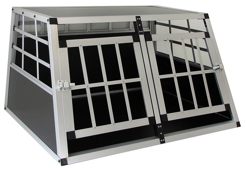 ALU HUNDE TIER REISE AUTO TRANSPORT BOX MIT DOPPELTÜR XL 80x69x50cm