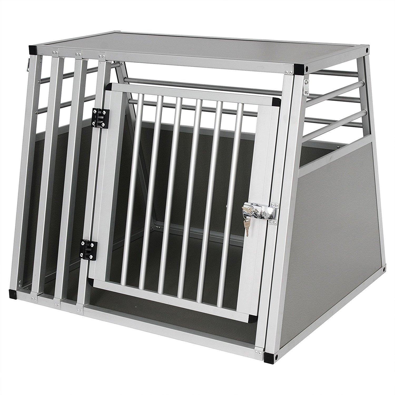 Alubox Hundebox Hundetransportbox Transportbox Alu Box 1 Türig Reisebox Gitterbox Silber e312