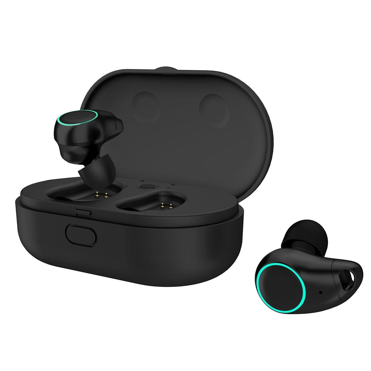 Arbily Mini Bluetooth Kopfhörer Wireless Earbuds Bluetooth V4.2 True Kabellos Kopfhörer mit Noise Cancelling wasserfest IPX5 in ear bluetooth headset stereo Bluetooth Ohrhörer mit Mikrofon für Android, iOS und PC mit Ladekästchen (Schwarz)