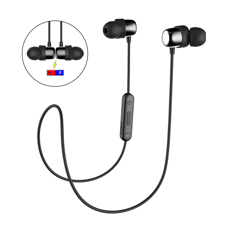Bluetooth In-Ear Sport Kopfhörer HAVIT V4.2 IPX5 Schweißresistent Stereo magnetischer Sport Ohrhörer mit 10 Stunden Spielzeit & 10 Meter Reichweite, eingebautes Mikrofon für iPhone, Huawei und Samsung (I39,Schwarz)