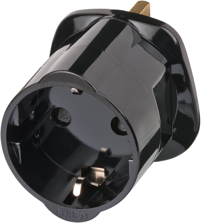 Brennenstuhl Reisestecker/Reiseadapter (Reise-Steckdosenadapter für: England Steckdose und Euro Stecker) Farbe: schwarz