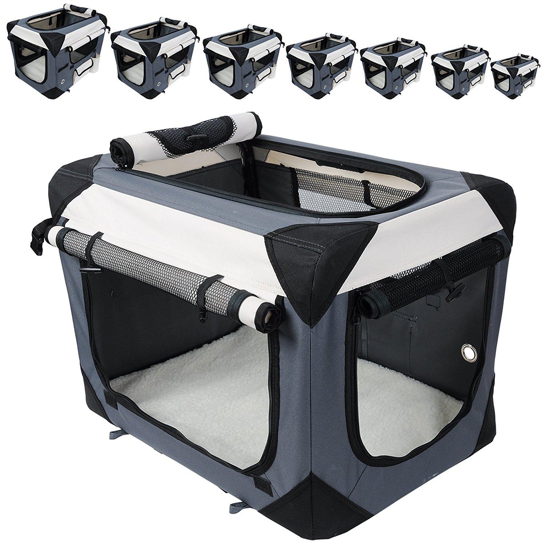 Hundebox Hundetransportbox Auto Transportbox Reisebox Katzenbox Autobox Box mit Hundedecke Braun Grau Schwarz S-XXXXL #487