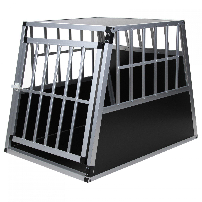 Hundetransportbox Alu Größe xxl von Jalano schwarz / silber - Gitterbox Aluminium Auto Transportbox große Hunde - Hundebox für Kofferraum