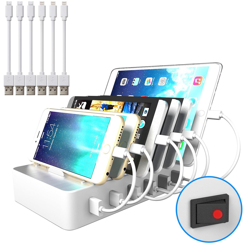 JZBRAIN USB Multi Ladestation für mehrere Geräte mit Schalter Handy und Tablet Ladestation 6 Anschlüsse 6 Ports USB - Dockingstation für Apple iPhone iPad Samsung Smartphones Handys Tablets, 6 kurze Kabel Inklusive, Weiß
