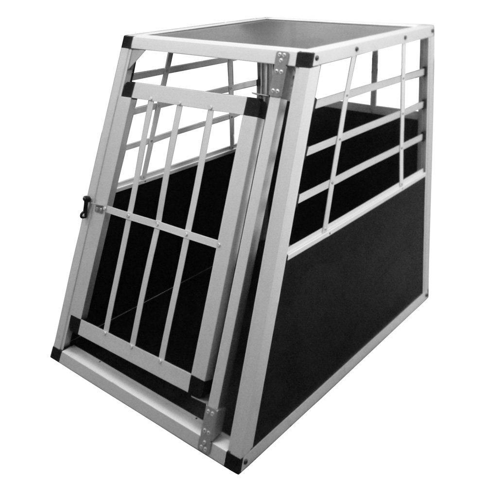 Leopet Alu Hundetransportbox Transportbox Auto 55/75/69 cm Hundebox in Silber Autohundebox