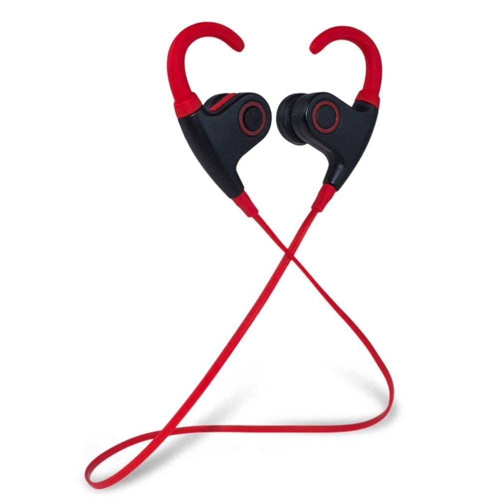 Meilunz MG-2 Sport Bluetooth Ohrhörer Kopfhörer Headphone Headset apt-X CSR v 4.1 In Ear mit Mikrofon für iPhone 6 6S 6 Plus 6S Plus 5S 5 5C 4S 4, Samsung Galaxy S6 S6 Edge S5 S4 Mini (Schwarz + Rot)