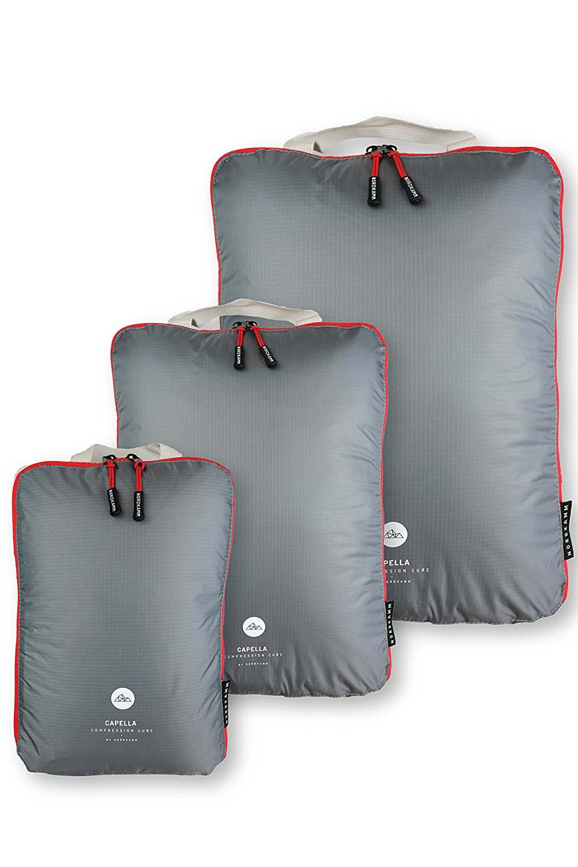 NORDKAMM Packtaschen mit Kompression, Koffer-Organizer, Packwürfel, Kleidertasche, einzeln o. im Set, Gepäck-Organizer auf Reisen, Rucksack, Backpack, als Kompressionsbeutel, leicht, mit Schlaufe