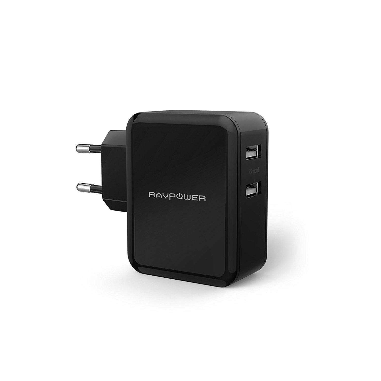 RAVPower 2-Port 24W USB Ladegerät gesamt 4,8A Reise Adapter Ladeadapter Ladestecker Netzteil mit iSmart Technologie für Smartphones Tablets usw. schwarz …