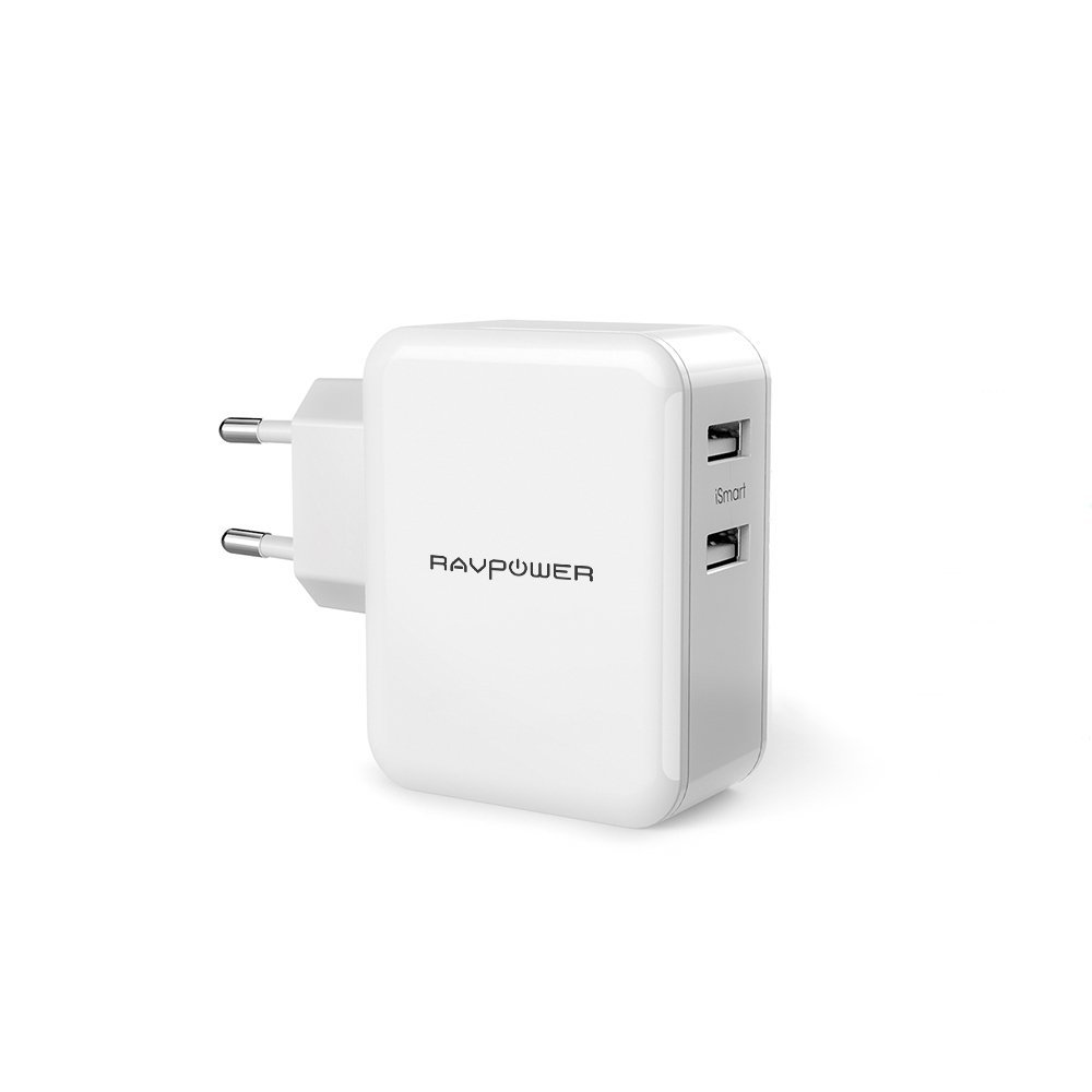 RAVPower 2-Port USB Ladegerät 24W 4,8A dual Port Reise Adapter Ladeadapter Ladestecker Netzteil mit iSmart Technologie für iPhone, iPad, Tablet, Samsung Galaxy, HTC, Sony, LG, Nexus,Motorola weiß