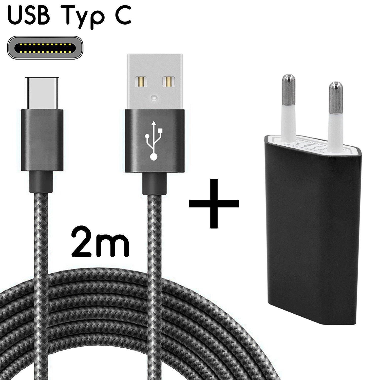 TheSmartGuard USB-C Ladegerät / 2in1 Ladeset / USB-Typ-C Ladekabel mit Netzteil / Netzstecker für S9, S9+, S8, A8, A8+, Note 8, Sony XZ, XA1, XZ1, HTC 10, U11, Huawei P10 und viele mehr | Nylon | Schwarz | 2 Meter / 2m