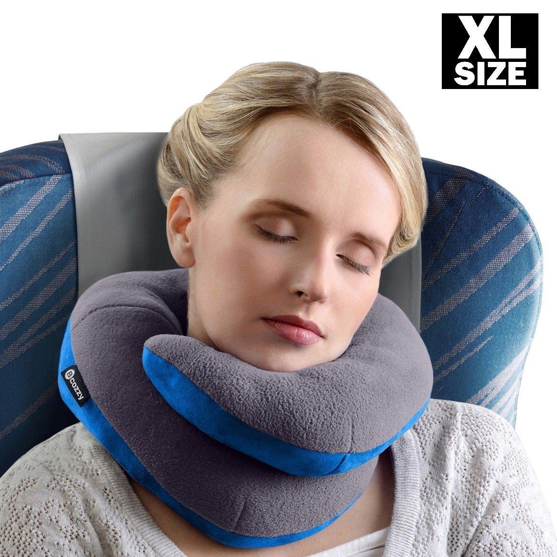 BCOZZY Kinnunterstützendes Nackenkissen– Unterstützt den Kopf, Nacken und das Kinn in maximalem komfort in jeder sitzposition. Ein patentiertes produkt. XL ERWACHSENE GRÖSSE, GRAU