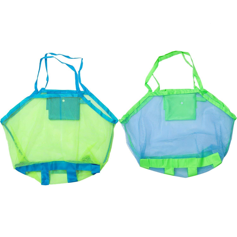 Boao 2 Stücke Große Mesh Strandtasche Strand Spielzeug Taschen Veranstalter Faltbare Spielzeug Aufbewahrungstasche Sand Weg für Kinder Kleinkind Spielzeug, 2 Farben