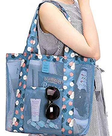 Brinny Mesh Strandtasche - Spielzeug-Einkaufstasche - Große leichte Markt, Lebensmittelgeschäft & Picknick-Tasche mit übergroßen Taschen