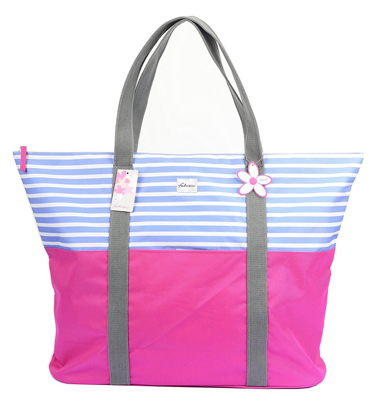 Fabrizio XXL Strandtasche groß mit Reißverschluss und Innentasche Größe 65 x 48 x16 cm