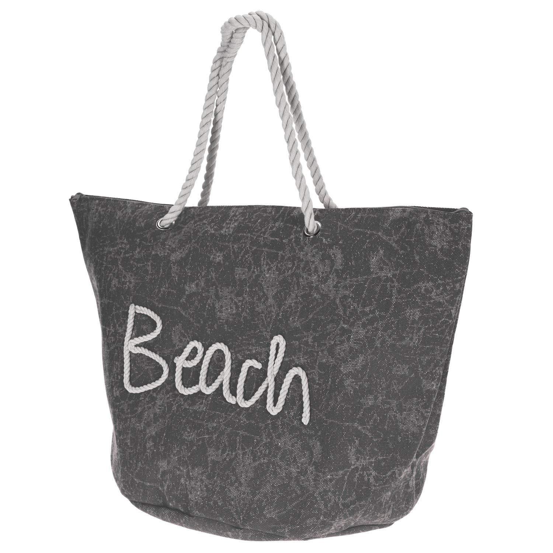 Multistore_2002 Strandtasche 'Beach' Schiffstau-Optik 58x38x38 Campingtasche Sporttasche Reisetasche, Farbe:Grau