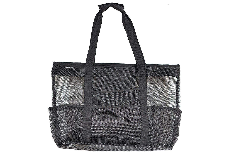 Netz-Strandtasche Groß Schwarz 60,96 x 40,64 von Victus Outdoors mit Zip Top, Lange 30,48 cm Griffe, Innentasche mit Reißverschluss, Federband, 8 große Außentaschen, Sand und Wasser fließt ab, mit Bonus Tragetasche
