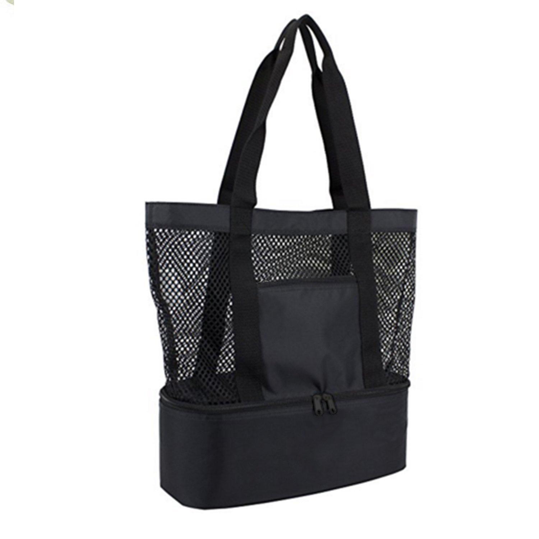 OKPOW Zwei Fächer Netzstrandtasche, Tragetasche, Picknicktasche, Einkaufstasche