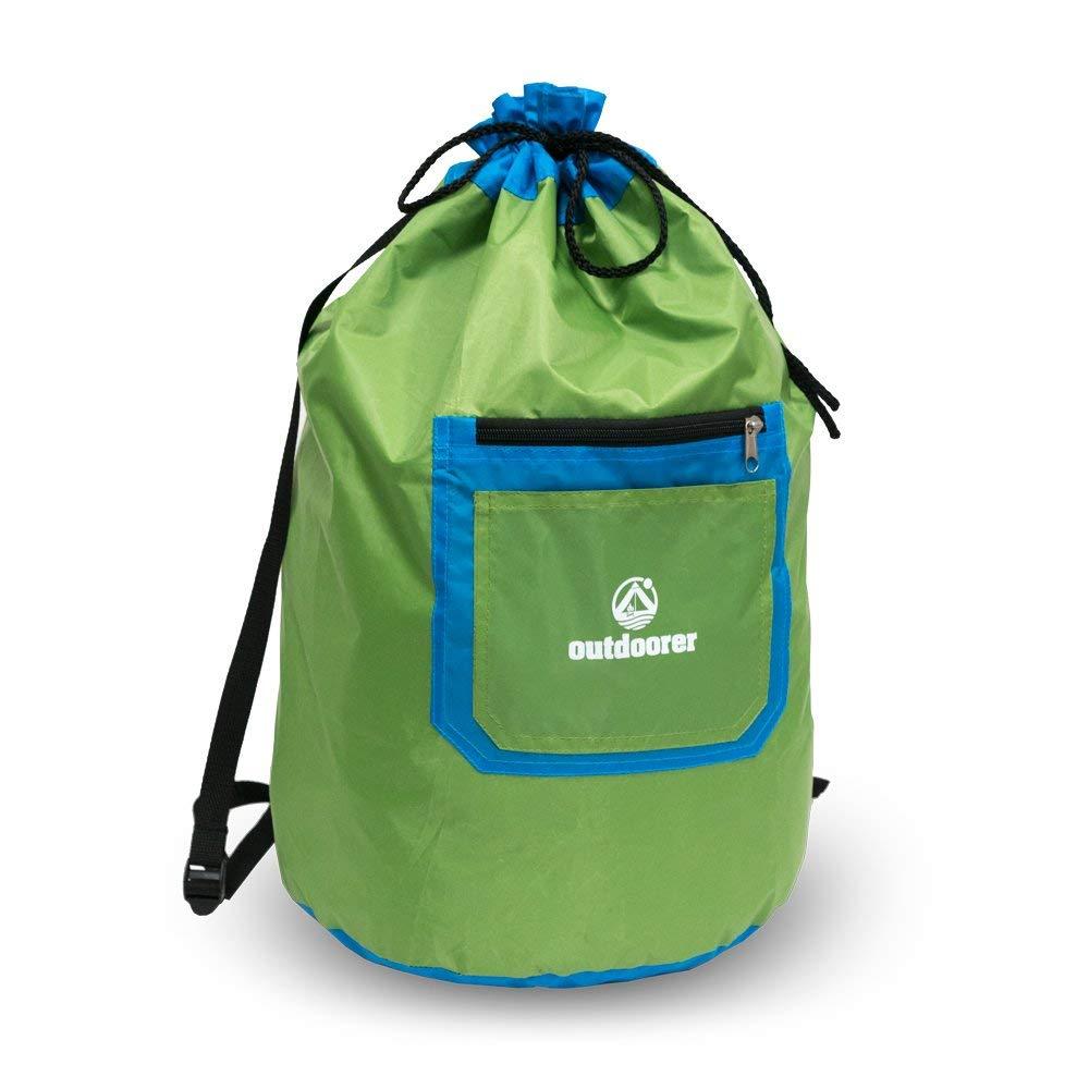Seesack Kimodo von outdoorer - blau/grün, groß - ideal als Strandtasche, Strandbeutel, Strandrucksack mit Reißverschluss