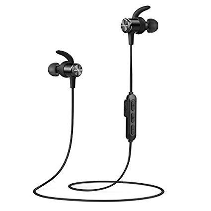 Soundcore Spirit Bluetooth Kopfhörer von Anker, in Ear magnetisches Headset mit Bluetooth 5.0/8 Stunden Akkulaufzeit/IPX7 SweatGuard Technologie/Mikrofon/Federleichtes Design und Bequemer Halt, für Sport und Workout