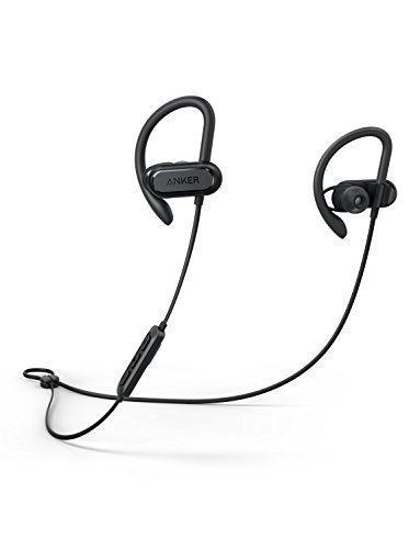 Soundcore Spirit X Bluetooth Kopfhörer von Anker, mit Bluetooth 5.0/12 Stunden Akkulaufzeit/IPX7 SweatGuard Technologie/Mikrofon/Super Halt und Fantastischem Sound, für iPhone, iPad, Samsung, Huawei, HTC und mehr (Schwarz)