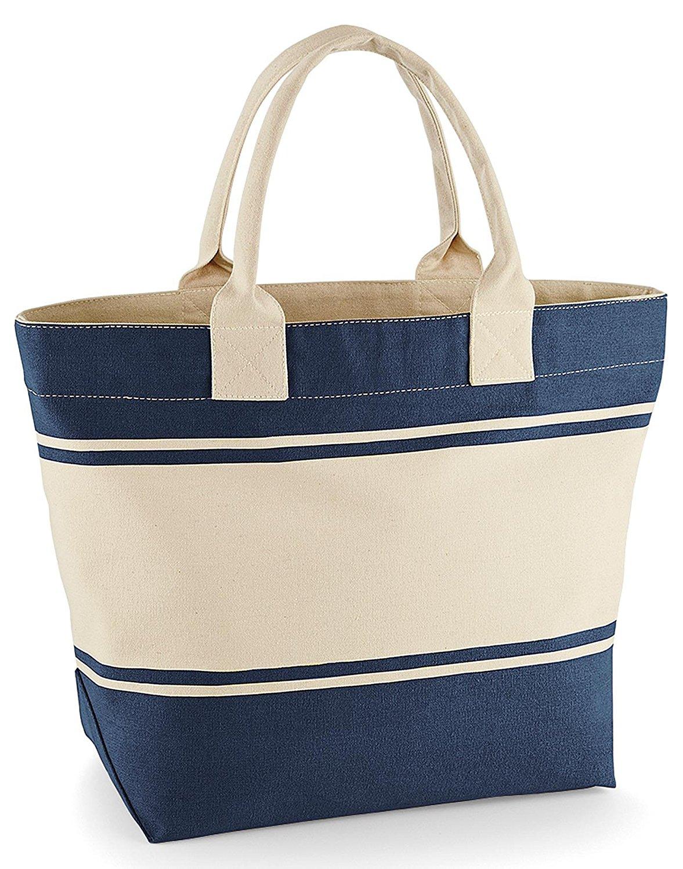 Strandtasche Shopper Einkaufstasche Badetasche weiss blau (natur/marine)