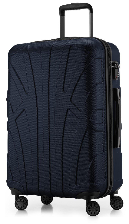 SUITLINE - Hartschalen-Koffer Koffer Trolley Rollkoffer Reisekoffer, TSA, 66 cm, 68 Liter, Dunkelblau