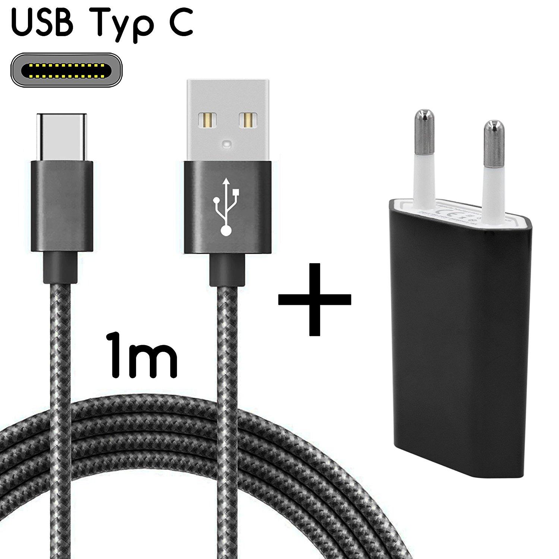 TheSmartGuard USB-C Ladegerät / 2in1 Ladeset / USB-Typ-C Ladekabel mit Netzteil / Netzstecker für S9, S9+, S8, A8, A8+, Note 8, Sony XZ, XA1, XZ1, HTC 10, U11, Huawei P10 und viele mehr | Nylon | Schwarz | 1 Meter / 1m