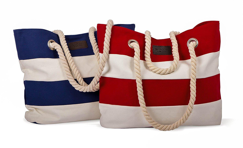 XL Strandtasche / Shopper - maritim gestreift mit Kordel in Tau-Optik - 100% Baumwolle
