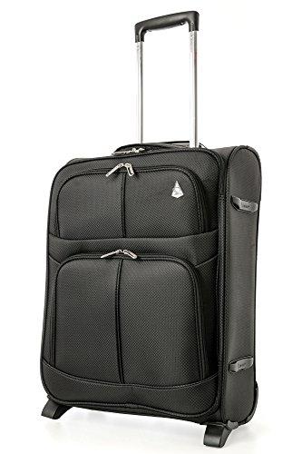 Aerolite 55x40x20 Ryanair Höchstbetrag 2 Rollen 42L Leichtgewicht Handgepäck Trolley Koffer Bordgepäck Kabinentrolley Reisekoffer Gepäck, Auch Genehmigt für easyJet & Lufthansa, Schwarz