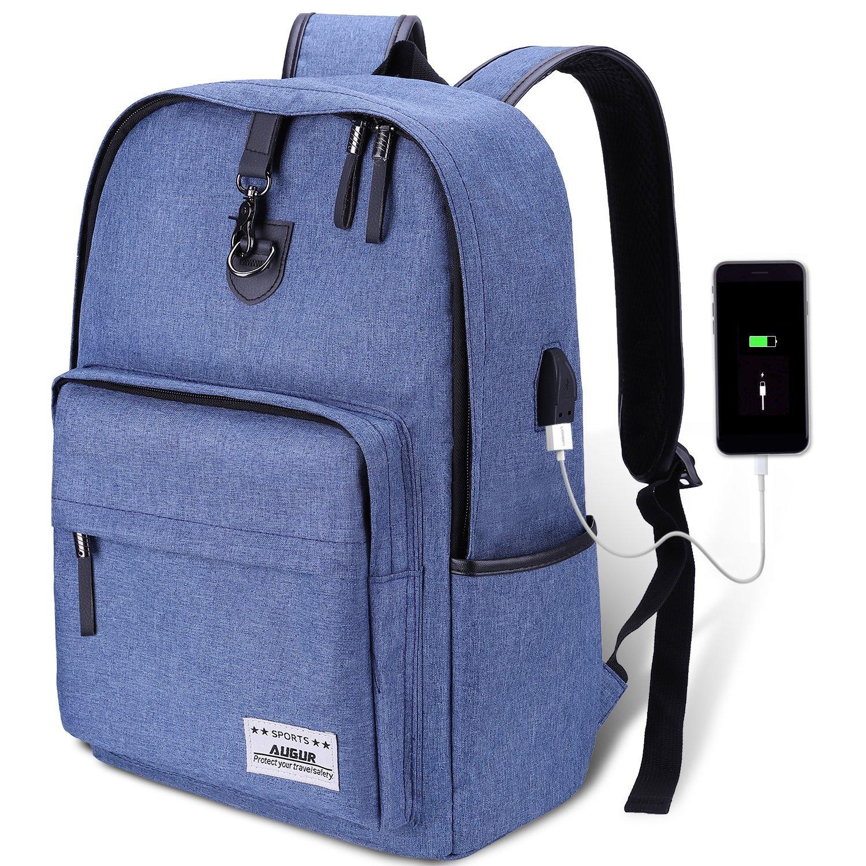 AUGUR Rucksack College-Rucksack Notebookrucksack Business Backpack mit USB-Ladeanschluss und Anti-Diebstahl Lock,35L Gefütterte Tasche für Laptop bis zu 15.6 Zoll,Unisex für Herren und Damen