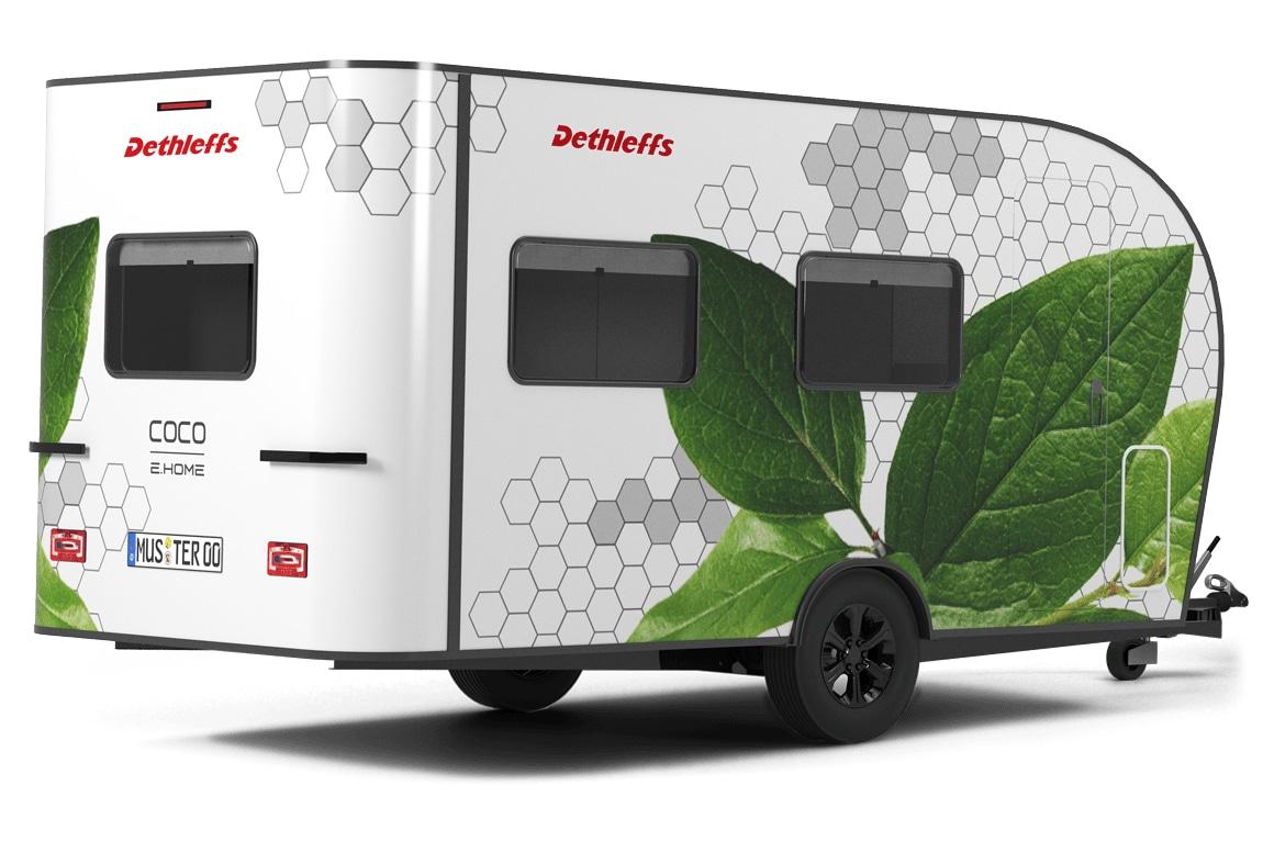Konzept: Wohnwagen mit Elektromotor für kleine Autos