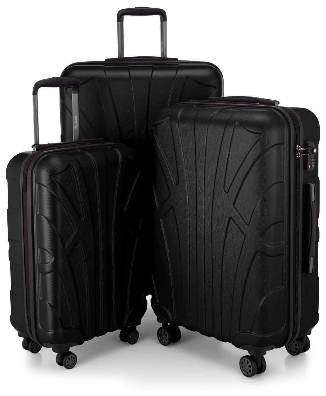 SUITLINE - 3er Koffer-Set Trolley-Set Rollkoffer Hartschalen-Koffer Reisekoffer, TSA, (S, M & L), Schwarz
