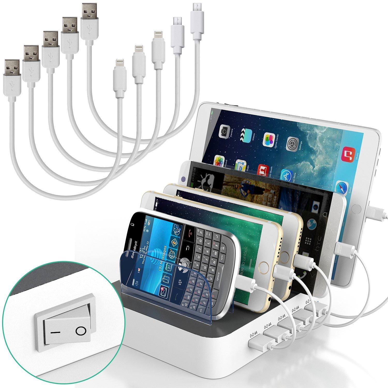 USB Ladestation, IMLEZON 5 USB Ports 5V 8A Multi Handy Ladestation mit Schalter und Kabels für Iphone, Andriod, Tablet ect. ( Weiß, 3 für lightning kabels, 2 für micro USB kabels)