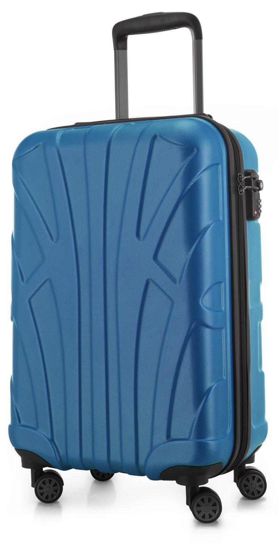 SUITLINE - Handgepäck Hartschalen-Koffer Koffer Trolley Rollkoffer Reisekoffer, TSA, 55 cm, 34 Liter, Cyanblau