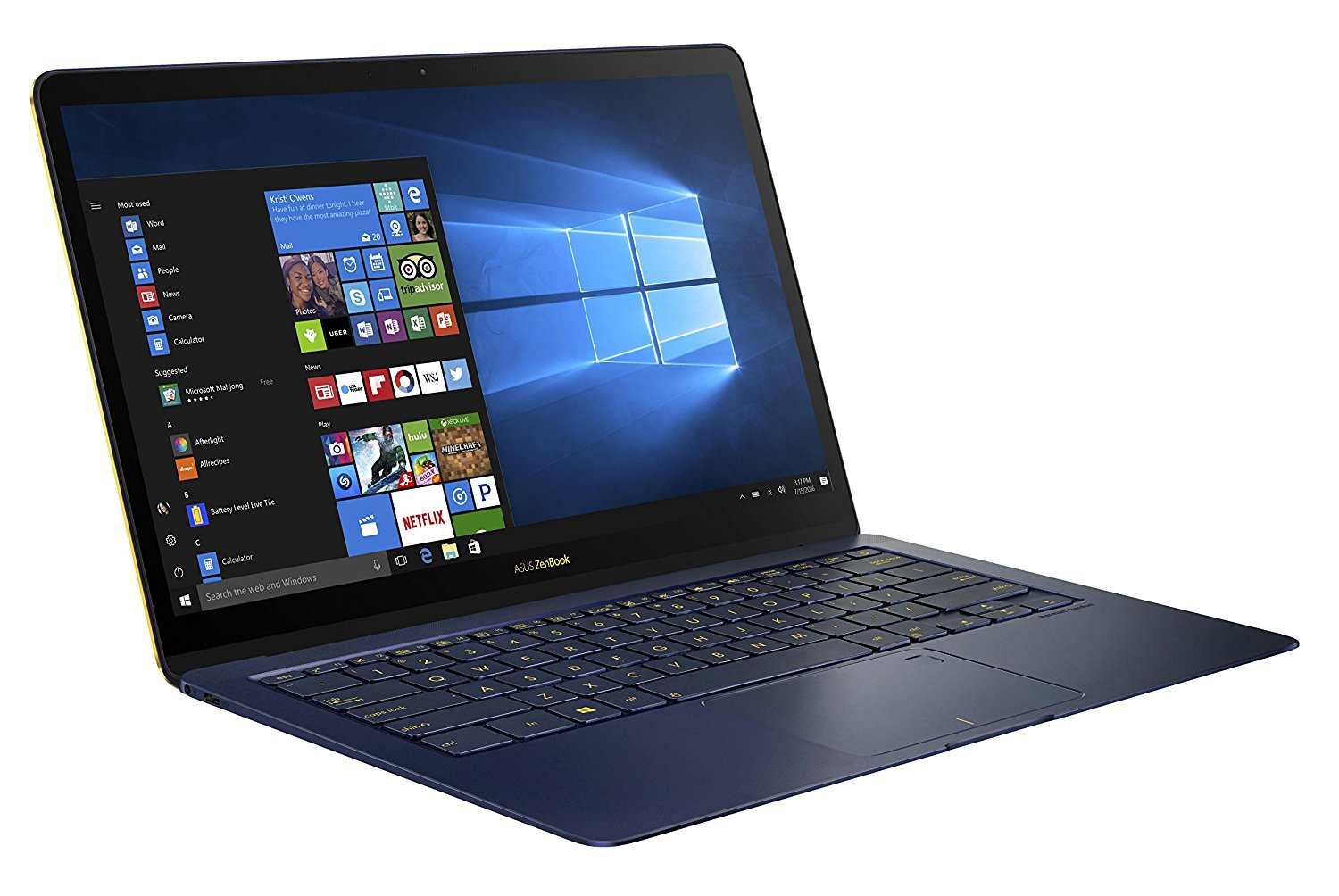 ASUS Zenbook 3 Deluxe UX490 (90NB0EI1-M02920) 35,6 cm (14 Zoll, Full-HD) Ultrabook (Intel Core i7-7500U, 16GB RAM, 1024GB SSD, Intel HD Graphics, Windows 10 Pure) royal blau