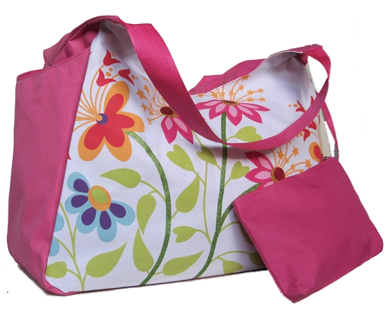 Große Strandtasche mit Blumenmotiv, H 33 cm, B 51 cm, T 23 cm, Rosa