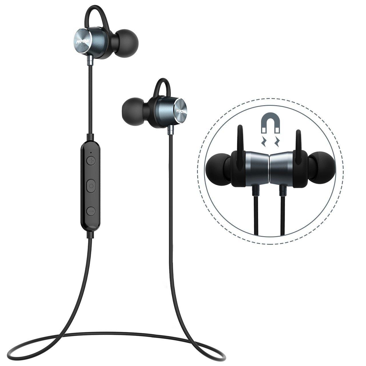 Mpow Bluetooth Kopfhörer, In Ear Sport Kopfhörer IPX6 Wasserdicht, 7 Stunden Spielzeit/Stereo Sound/Bluetooth 4.1/HD-Mikrofon/Metallgehäuse, Sportkopfhörer Joggen/Fitness/Yoga, Magnetisches Headset für iPhone Android Samsung iPad Huawei HTC usw