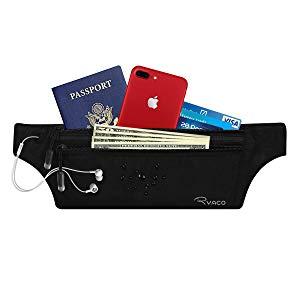 Ryaco Flache Bauchtasche Hüfttasche mit RFID Blocker für Damen und Herren, Reise Versteckbarer Geldgürtel Money Belt zum Sport Reisen Fitness oder Joggen für Geld, Karten, Pass, IDs