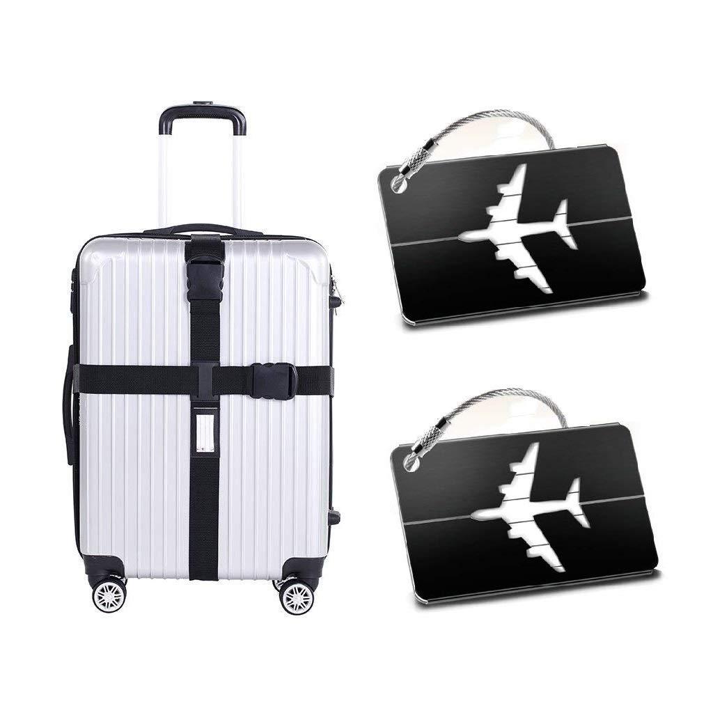 Sinwind Koffergurt Set – Gepäckgurt zum sicheren Verschließen der Koffers auf Reisen + GRATIS 2 Kofferanhänger – Robuster Gepäckgurt für sichere Reisen (Schwarz)