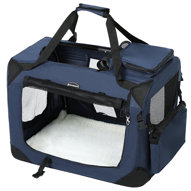 SONGMICS Hundebox Transportbox faltbar Oxford Gewebe S-XL