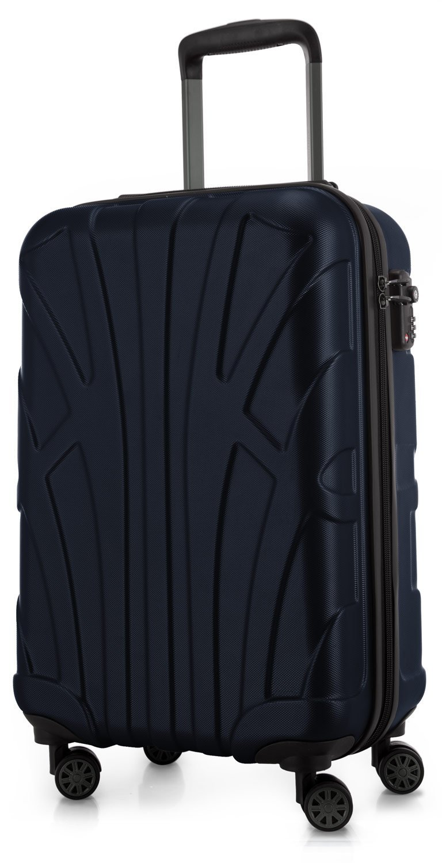 SUITLINE - Handgepäck Hartschalen-Koffer Koffer Trolley Rollkoffer Reisekoffer, TSA, 55 cm, 34 Liter, Dunkelblau
