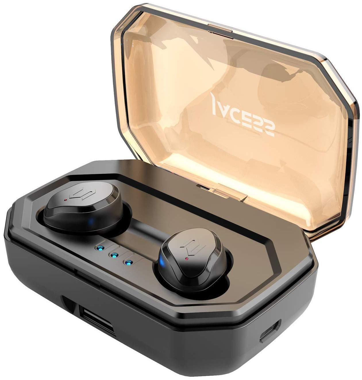 【Weiterentwickelte Version】 TWS Sport Bluetooth V5.0 Wireless Kopfhörer 3000mAh für 90-stündige Spiel IPX6 Absolut Wasserdicht Praktisches Touchpanel Kabellose Lautstärkeregelung Automatische Verbindung Automatisch ein / aus AAC Siri Funktion Earphones Mit Eingebautem Mikrofon In Ear Kopfhörer