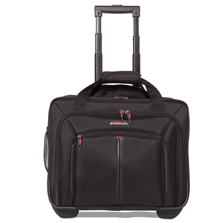 """Aerolite 17"""" Rollkoffer Laptoptrolley Business-Tasche Laptop-Tasche bis 17,3""""- Zugelassen für Ryanair, Easyjet, BA & Jet2, Schwarz"""